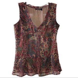 ANA Paisley tan Sleeveless Blouse w/ side zip H8